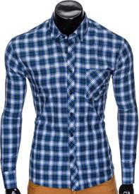 Niebieska koszula Ombre Clothing w stylu casual z długim rękawem z bawełny