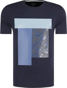 Niebieski t-shirt Armani Jeans z nadrukiem