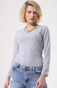Bluzka born2be z długim rękawem ze sznurowanym dekoltem w stylu casual