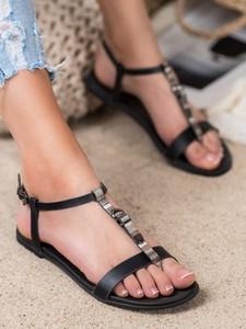 Sandały Czasnabuty w stylu casual z klamrami z płaską podeszwą