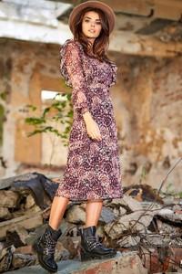 Sukienka Awama z szyfonu w stylu casual z długim rękawem