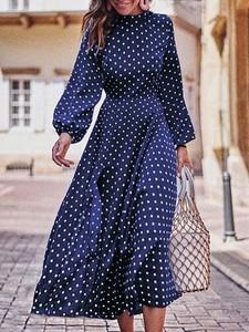 Sukienka Elegrina z bawełny z długim rękawem