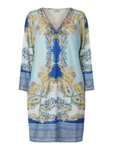 Niebieska sukienka Open End mini z długim rękawem prosta