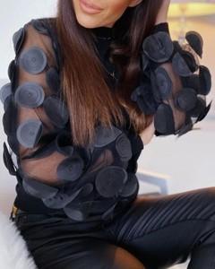 Bluzka Kendallme z długim rękawem z okrągłym dekoltem
