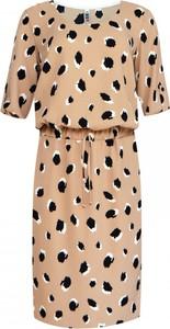 Brązowa sukienka kama-elite.pl w stylu casual z krótkim rękawem midi