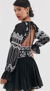 Czarna sukienka Asos Design z szyfonu mini