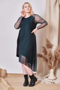 Sukienka Blue Shadow w stylu casual z długim rękawem