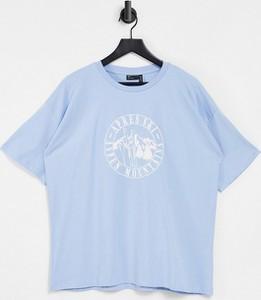 Niebieski t-shirt Asos z okrągłym dekoltem