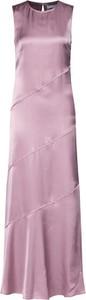 Różowa sukienka Tiger Of Sweden maxi bez rękawów z okrągłym dekoltem
