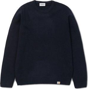 Niebieski sweter Carhartt WIP z okrągłym dekoltem w stylu casual