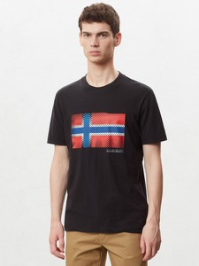 Czarny t-shirt Napapijri z krótkim rękawem z nadrukiem