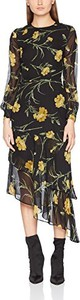 Sukienka Warehouse z okrągłym dekoltem z długim rękawem z szyfonu