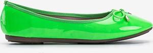Zielone baleriny Gemre.com.pl w stylu casual z płaską podeszwą ze skóry