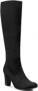 Czarne kozaki Caprice w stylu klasycznym za kolano na zamek