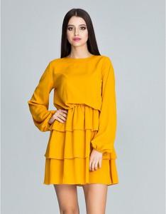 Żółta sukienka Figl mini z długim rękawem
