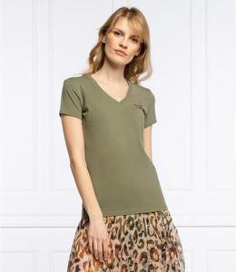 Zielona bluzka Guess z dekoltem w kształcie litery v z krótkim rękawem w stylu casual