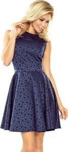 Granatowa sukienka NUMOCO midi rozkloszowana z okrągłym dekoltem