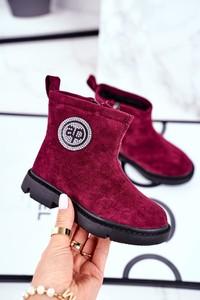 Czerwone buty dziecięce zimowe Apawwa dla dziewczynek z zamszu