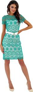 Sukienka Marselini z okrągłym dekoltem z krótkim rękawem midi