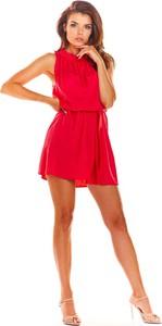 Różowa sukienka Awama z okrągłym dekoltem bez rękawów mini