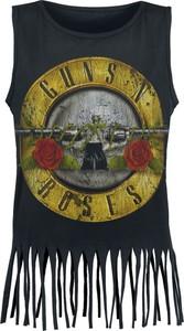 Czarny top Guns N' Roses w młodzieżowym stylu z bawełny z okrągłym dekoltem