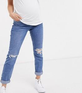 New Look Maternity – Niebieskie jeansy mom z talią nad brzuch