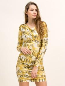 Sukienka Versace Jeans mini z dekoltem w kształcie litery v z długim rękawem