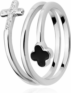 SADVA Pierścionek srebrny z krzyżem i koniczyną