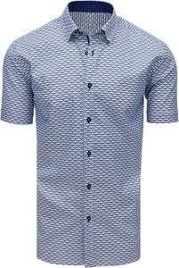 Niebieska koszula Dstreet z krótkim rękawem z kołnierzykiem button down