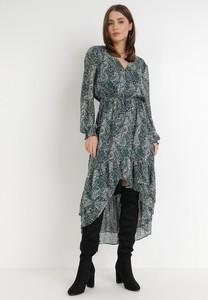 Zielona sukienka born2be z tkaniny asymetryczna z dekoltem w kształcie litery v