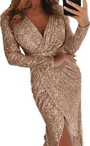 Brązowa sukienka Kendallme kopertowa maxi z długim rękawem