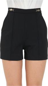 Czarne szorty Elisabetta Franchi z tkaniny