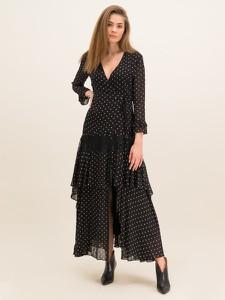 Czarna sukienka Pinko maxi z długim rękawem