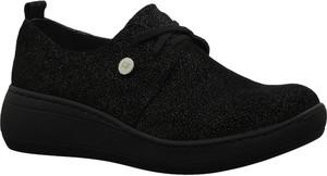 Czarne buty sportowe Gino Fabiani ze skóry na platformie sznurowane
