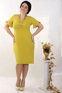 Zielona sukienka Oscar Fashion z dekoltem w kształcie litery v w stylu casual midi