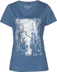 Niebieski t-shirt bonprix bpc selection w stylu glamour