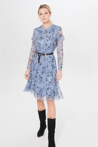 Niebieska sukienka Mohito z długim rękawem