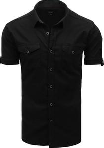 Czarna koszula Dstreet z krótkim rękawem z klasycznym kołnierzykiem z bawełny