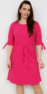 Różowa sukienka Marka Polska mini w stylu casual z okrągłym dekoltem