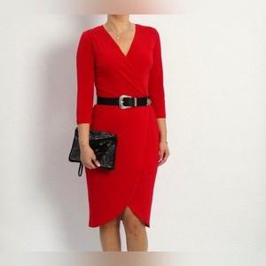 Sukienka Mm Fashion w stylu casual z dekoltem w kształcie litery v z tkaniny