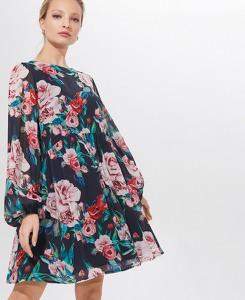 Sukienka Mohito rozkloszowana mini z długim rękawem