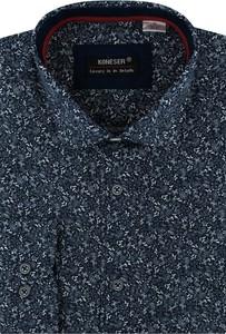 Niebieska koszula Koneser z klasycznym kołnierzykiem z długim rękawem
