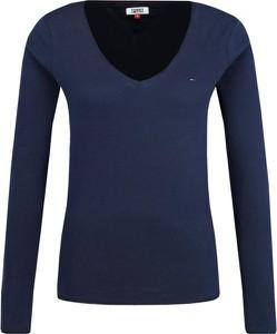 Niebieska bluzka Tommy Jeans z długim rękawem z dżerseju