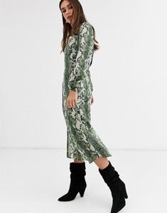 Zielona sukienka Glamorous ze skóry z długim rękawem