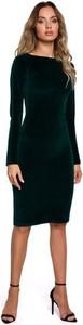 Sukienka MOE z weluru ołówkowa midi