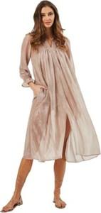Sukienka MARLU z dekoltem w kształcie litery v midi z długim rękawem