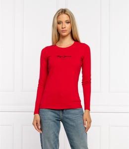 Czerwona bluzka Pepe Jeans z okrągłym dekoltem z długim rękawem