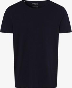 Niebieski t-shirt Selected z krótkim rękawem