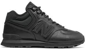 Czarne buty sportowe New Balance sznurowane ze skóry w sportowym stylu