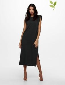 Czarna sukienka Only midi z okrągłym dekoltem asymetryczna